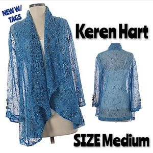 Keren Hart Shrug Wrap Size M Blue Waterfall NWT